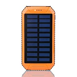 8000mAh DC5V 2A Dual USB Solar Panel Power Bank for Mobile Phone-Orange