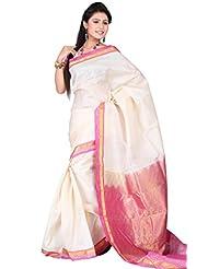Pure Silk Kanjeevaram Hand Woven Saree-White-SAB21-Silk