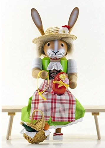 Sitting Mrs Easter Bunny Rabbit German Nutcracker
