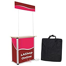 Portable Foldable Promotional Demo Counter Trade Show Display Booths w/ Sturdy Aluminum Structure Wood Tabletop for Business Travel Presentations Product Demos
