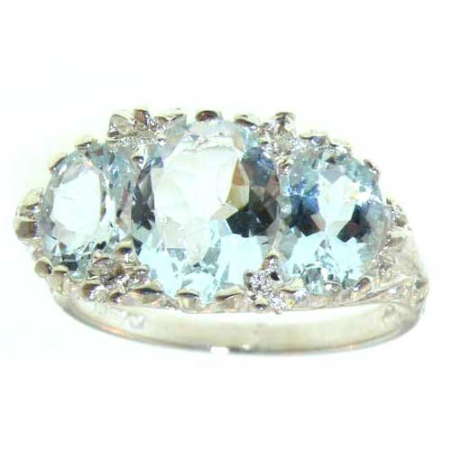 Sterling Silver Ladies Aquamarine Ring - Size L - Finger Sizes L to Z Available