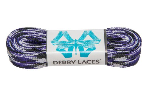 Purple Camouflage 108 Inch Waxed Skate Lace - Derby Laces for Roller Derby, Hockey and Ice Skates, and Boots