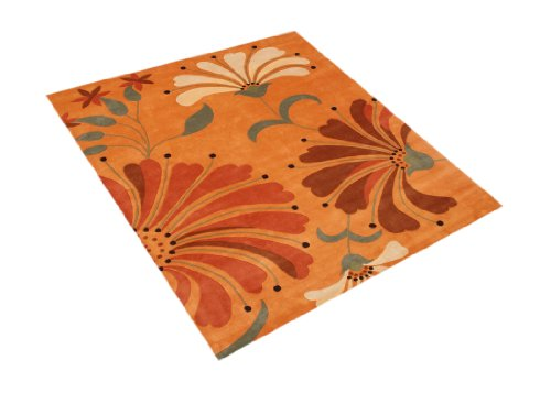 ZnZ Rugs Gallery 26008-8x10 Handmade New Zealand Blend Wool Rug, 8 by 10-Feet, Orange Rust