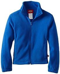 Dickies Big Girls\' Polar Fleece Zip Jacket, Royal Blue, Small (7/8)