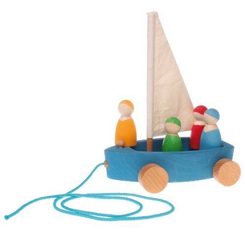 Grimm's Large Land Yacht with 4 Sailors - Wooden Pull Along Sailboat on Wheels with Peg Doll People Figures - 1
