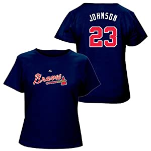 Chris Johnson Atlanta Braves Navy Ladies Player T-Shirt by Majestic by Majestic