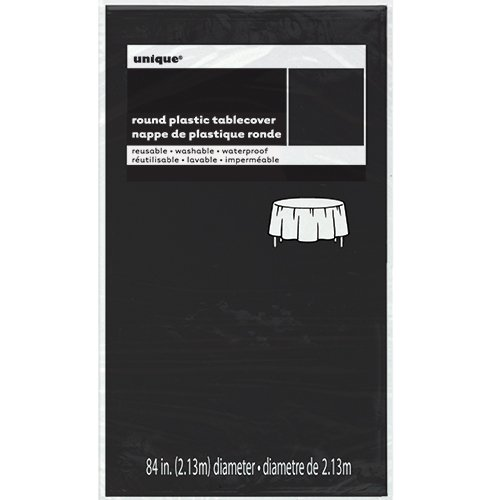 "Plastic Black Table Cover, 84"" Round"