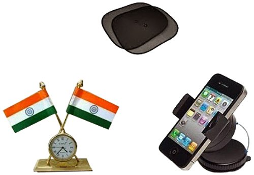 Dios Combo of Chipko Sunshade, Mobile Holder and Indian Flag Watch