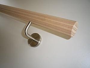 Lärche (unbehandelt) Handlauf gefast mit Edelstahlhalter in verschiedenen Längen (250cm 4 EdelstahlHalter)  BaumarktKundenbewertung und weitere Informationen