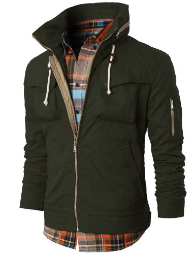 H2H Mens Casual Slim Fit Hoodie Field Jacket With Zip Details Khaki Asia L (Kmoja019)