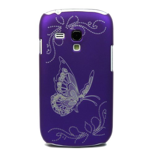 ATQ Laser Carving Butterfly Case Cover for Samsung Galaxy S3 III Mini i8190 Purple (Sport Case Samsung S3 Mini compare prices)