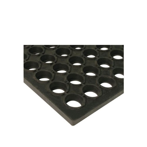 Winco RBMI-33K Interlocking Floor Mat, 3-Inch x 3-Inch, Anti-Fatigue, Black