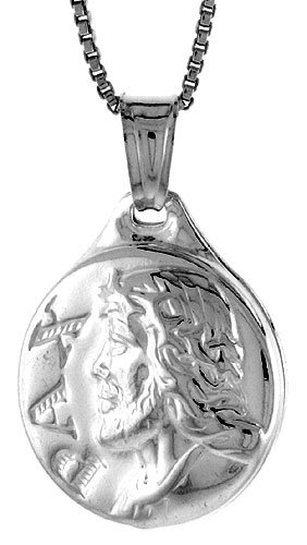 Sterling Silver Jesus Medal, Made in Italy. 3/4 inch (20 mm) in Diameter.