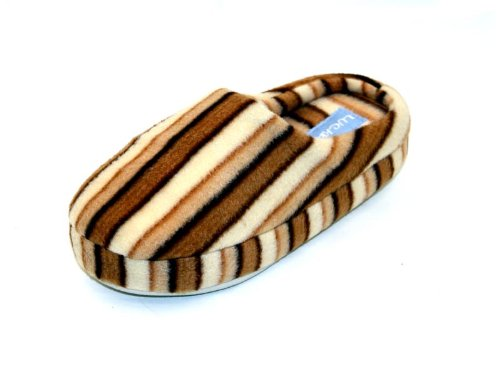 Image of Luckers Women's Striped Slippers, Mocha Brown (B008LY5C5K)