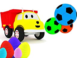 Learn colors with Ethan The Dump Truck: Playing Football / the Egg Hunt
