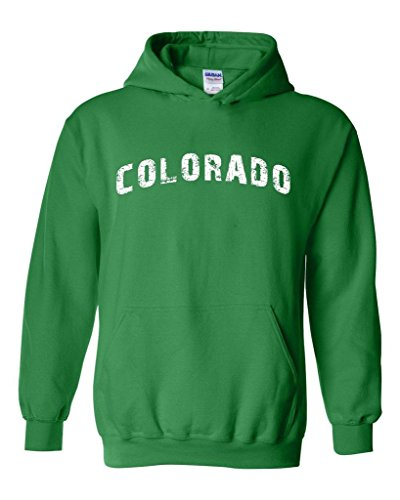 Xekia Colorado Distress Home of Colorado Springs Unisex Hoodie Sweatshirt X-Large Irish Green (Colorado Lottery compare prices)