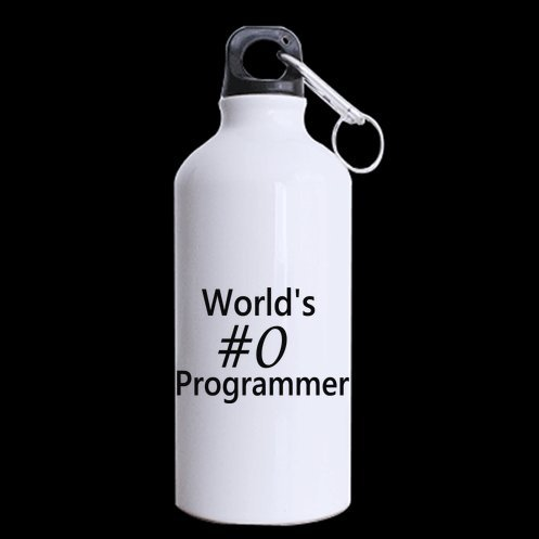 World's #0 Programmer-Perfect gift sports mug for birthdays,Funny & Humor Quote Aluminum Material Sport Water Bottle-13.5 OZ One Side