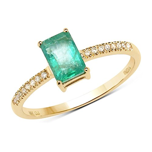 0.54 Carat Genuine Emerald & White Diamond 14K Yellow Gold Ring (Genuine Emerald Ring compare prices)