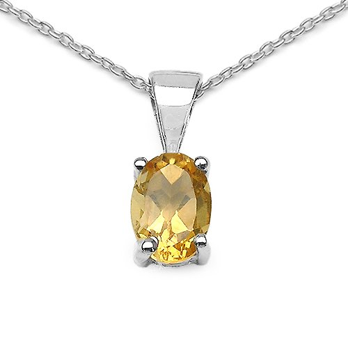 0.85 Carat Genuine Citrine Oval shape 925 Sterling Silver Pendant