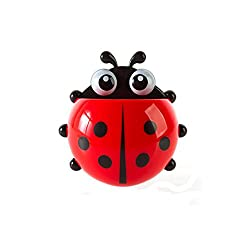 House of Quirk Cute Cartoon Ladybird Toothbrush Holder with Suction Cups(Red)