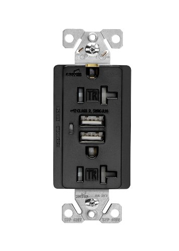 Cooper Wiring Devices Tr7746Bk-Box Combination Usb Charger With Tamper Resistant Receptacle And Box, 20-Amp, Black Finish