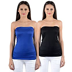 NumBrave Womens Blue, Black Tube Top (Combo of 2)