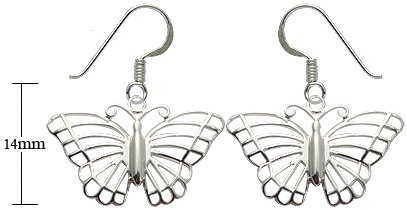 Silver earrings - Cut out Butterfly design - Beautifully designed and hand polished to a very high jewellery standard. delicately packed in a lovely velvet pouch. You can buy the matching pendant also: see menu below