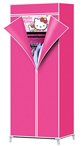 Evana 2.3 Feet Creative Pink Cabinet,Easy Installation Folding Wardrobe Cupboard Almirah Foldable Storage Rack Collapsible Cloths Organizer available at Amazon for Rs.999