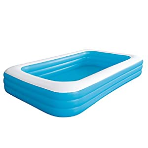 Giant inflatable kiddie pool family and kids inflatable rectangular pool 10 feet for Intex inflatable rectangular swimming pool
