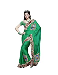 Triveni Green Chiffon Fancy Embroidered Saree 2814
