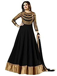 Z Fashion Women's Prachi Desai Long Black Color Faux Gorgette Embroidered Semi-stitched Boat Neck Full Sleeve Free Size Anarkali Gown