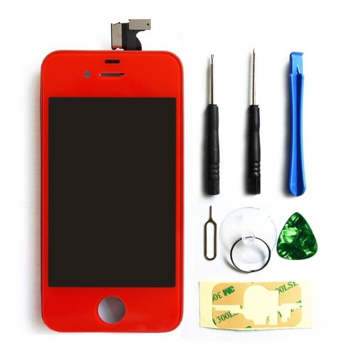 Toto® Lcd Touch Screen Glass Digitizer Assembly Replacement For Iphone 4S Gsm + Back Cover Case + A Set Cracked Screen Repair Tools Kit (Iphone 4S Red)