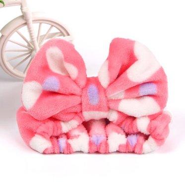 大人気 洗顔用 可愛い もこもこ ヘアバンド 高品質 ピンクパープルホワイト ドット柄