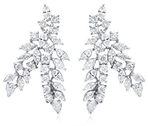 Diamond & 18k White Gold Cluster Earrings