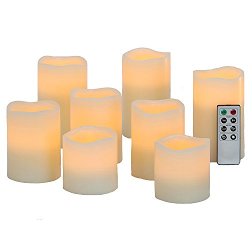 Variety Set of 8 Melted Top Flameless Cream Wax Pillar Candles with Warm White LEDs, 8 Function Remote and Batteries Included (Wax Lit compare prices)