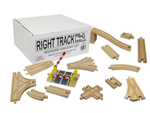 Wooden Train Track Deluxe Set: 56 Premium Wood Pieces By Right Track Toys - 100% Compatible with Thomas - All Tracks and No Fillers