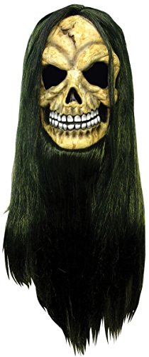 Adult Skull Pvc Mask And Bicolour Hair Halloween Costume Fancy Dress Outfit