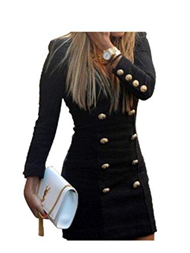 """Reasoncool Vestito Bottoni Slim Nuova Maglia a manica lunga Mini abito da cocktail casuale aderente (S-Busto: 32.3"""", Nero)"""