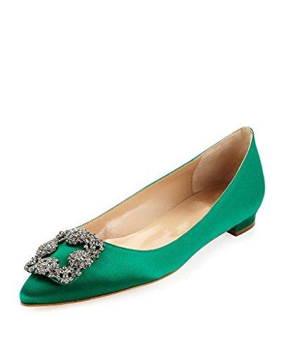 Arc-en-Ciel scarpe da donna appartamenti punta rotonda-green-us11