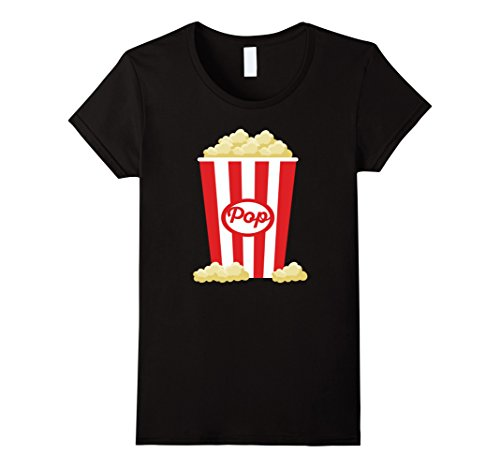 [Women's Popcorn - Funny Last Minute Halloween Costume T-Shirt Small Black] (Mens Halloween Costume Ideas Last Minutes)