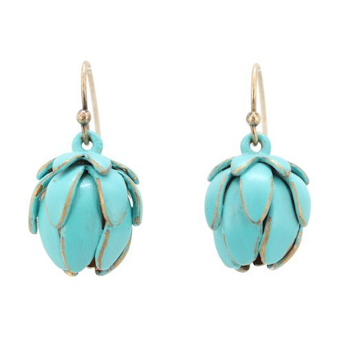SECRET OF LOTUS Turquoise Enameled Brass Hanging Lotus Blossom Flower Dangle Earrings, #7357