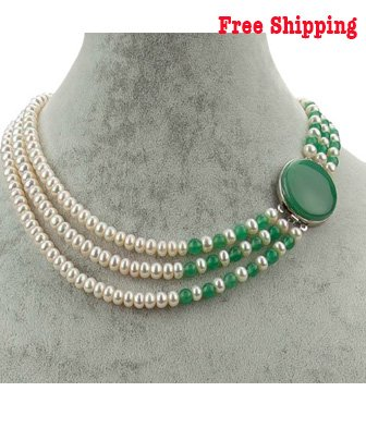 3 Strands Freshwater Pearl with a Green Jade Clasp 18