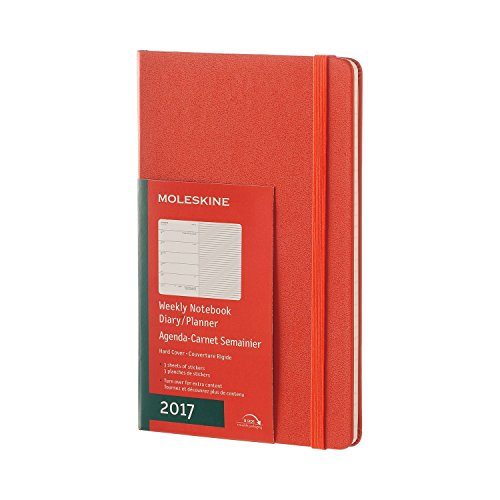 Moleskine 2017 Weekly Notebook, 12M, Large, Coral Orange, Hard Cover (5 x 8.25)
