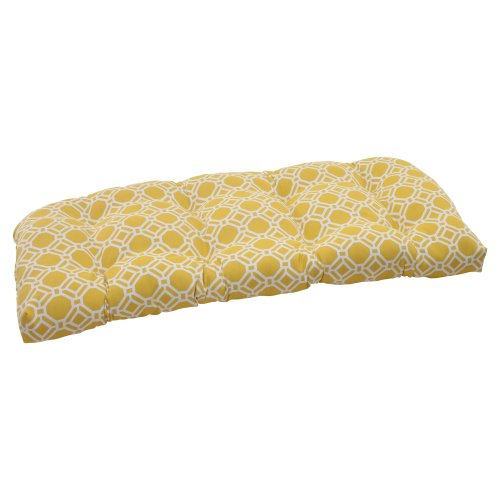 Pillow Perfect Indoor/Outdoor Rossmere Wicker Loveseat Cushion, Yellow image
