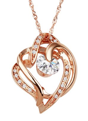 Rose Gold Plated CZ Interlocking Heart Pendant Necklace With 18