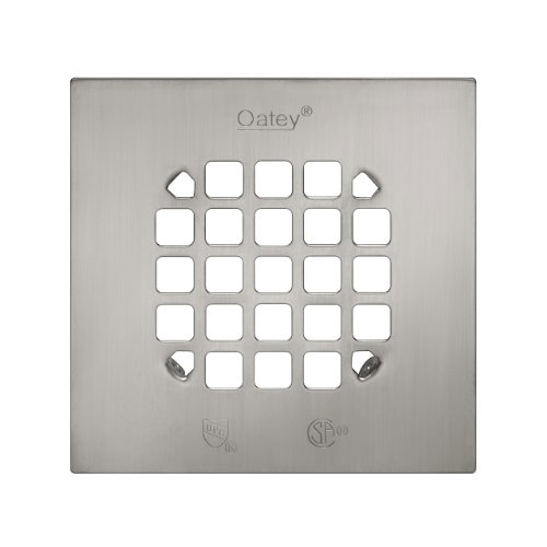 Oatey 46268 Square 4-1/4-Inch Snap-Tite Drain Strainer, Brushed Nickel