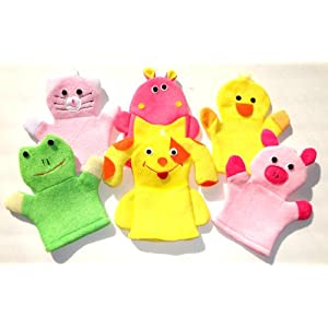 Animal Washcloth Hand Puppet Terrycloth Washmitt Set of 3