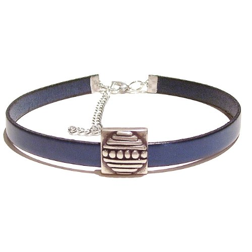 Blue Flat Leather Choker Necklace - Small