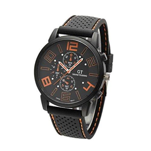 Kano Bak Racing Sport Watch Military Pilot Aviator Army Style Black Silicone Boy Men'S Gift Watches Orange