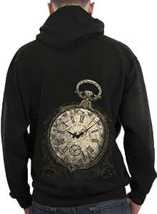 Sweat-shirt zippé à capuche Homme / Steam Punk / 1837 Montre à gousset - Taille : XXL - Couleur : Noir